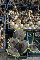 Harvested Onions and Sunflowers bask in the sun