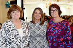 SOUTHINGTON  CT. - 29 October 2019-10229SV26- From left, Donna Johnson of Woodbury, Lori Turmel - Kecskes of Prospect, and Lori Dossantos of Oakville attend the Waterbury Chamber annual Business Women's Forum in Southington Tuesday.<br />  Steven Valenti Republican-American