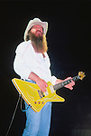 Billy Gibbons of ZZ Top performing live at Madison Square Garden, NYC, June 1983. Eliminator Tour.