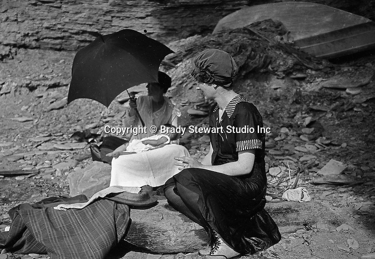 Cleveland OH: Sarah and Helen Stewart and her sister on the Lake Erie shore.