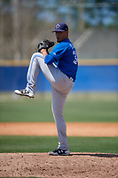 Toronto Blue Jays pitcher Denis Diaz (38) delivers a pitch during a minor league Spring Training game against the New York Yankees on March 30, 2017 at the Englebert Complex in Dunedin, Florida.  (Mike Janes/Four Seam Images)