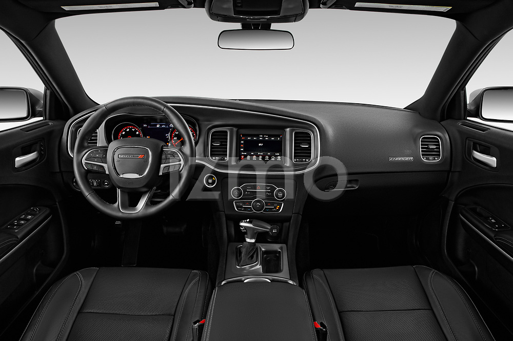Stock photo of straight dashboard view of a 2019 Dodge Charger SXT 4 Door Sedan