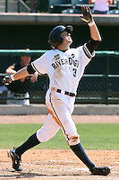 Ray Kruml #37 of the Charleston RiverDogs batting in a game against the West Virginia Power on April 14, 2010  in Charleston, SC.
