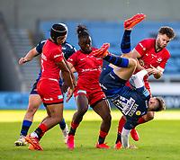 9th September 2020; AJ Bell Stadium, Salford, Lancashire, England; English Premiership Rugby, Sale Sharks versus Sracens; Tom Roebuck of Sale Sharks lands upsidedown after catching a high ball