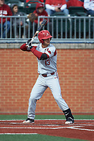 Jordan McFarland (13) of the Arkansas Razorbacks at bat against the Charlotte 49ers at Hayes Stadium on March 21, 2018 in Charlotte, North Carolina.  The 49ers defeated the Razorbacks 6-3.  (Brian Westerholt/Four Seam Images)