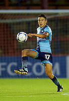 Luke O'Niel of Wycombe Wanderers during the Friendly match between Aldershot Town and Wycombe Wanderers at the EBB Stadium, Aldershot, England on 26 July 2016. Photo by Alan  Stanford.