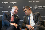 L-R: Winfried Engelbrecht-Bresges, JP, CEO of The Hong Kong Jockey Club, Juan-Carlos Capelli, Vice-President and Head of International Marketing of Longines, speak at Longines Hong Kong Masters official press conference at the Happy Valley Racetrack on February 02, 2016 in Hong Kong.  Photo by Victor Fraile / Power Sport Images