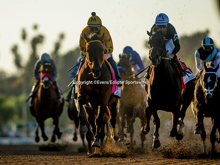 March 06, 2021: King Guillermo and Tizamagician race in the Santa Anita Handicap at Santa Anita Park in Arcadia, California on March 06, 2021. Evers/Eclipse Sportswire/CSM