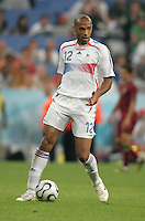 French forward (12) Thierry Henry looks for a teammate to pass to.  France defeated Portugal, 1-0, in their FIFA World Cup semifinal match at FIFA World Cup Stadium in Munich, Germany, July 5, 2006.