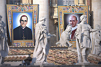 Portraits of  Salvadoran Archbishop Oscar Romero and the Pope Paul VI . Pope Francis presides over a canonization ceremony in St Peter's Square at the Vatican, on October 14, 2018. Pope Francis canonizes two of the most important and figures of the 20th-century Catholic Church, declaring Pope Paul VI and the martyred Salvadoran Archbishop Oscar Romero.