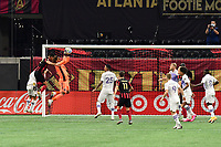 ATLANTA, GA - AUGUST 29: Pedro Gallesse #1 of Orlando City gathers the ball during a game between Orlando City SC and Atlanta United FC at Marecedes-Benz Stadium on August 29, 2020 in Atlanta, Georgia.