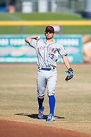 Scottsdale Scorpions second baseman Andres Gimenez (13), of the New York Mets organization, warms up before an Arizona Fall League game against the Peoria Javelinas at Peoria Sports Complex on November 15, 2018 in Mesa, Arizona. Peoria defeated Scottsdale 2-1. (Zachary Lucy/Four Seam Images)