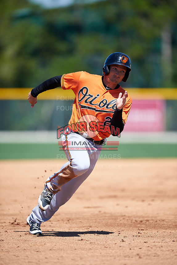 Baltimore Orioles left fielder Tucker Nathans (28) runs the bases during a minor league Spring Training game against the Boston Red Sox on March 16, 2017 at the Buck O'Neil Baseball Complex in Sarasota, Florida.  (Mike Janes/Four Seam Images)