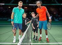 Rotterdam, The Netherlands, Februari 9, 2016,  ABNAMROWTT, Ernests Gulbis (LAT), Gael Monfils (FRA)<br /> Photo: Tennisimages/Henk Koster