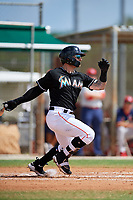 GCL Marlins first baseman John Silviano (43) follows through on a swing during a game against the GCL Cardinals on August 4, 2018 at Roger Dean Chevrolet Stadium in Jupiter, Florida.  GCL Marlins defeated GCL Cardinals 6-3.  (Mike Janes/Four Seam Images)