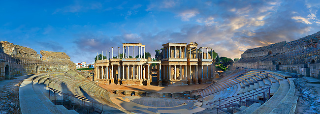 Roman theatre of the Roman colony of Emerita Augusta (Mérida) dedicated by the consul Marcus Vipsanius Agrippa and built in 15BC, renovated late 1st Century AD, Merida, Estremadura, Spain
