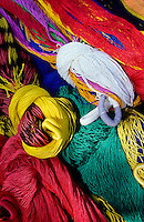 Close up of Colorfull indian hammocks bundled up at the market in Mexico