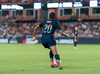 HOUSTON, TX - JUNE 13: Margaret Purce #20 of the USWNT dribbles during a game between Jamaica and USWNT at BBVA Stadium on June 13, 2021 in Houston, Texas.