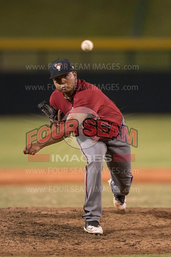 AZL Diamondbacks relief pitcher Ezequiel De La Cruz (14) delivers a pitch during an Arizona League game against the AZL Cubs 1 at Sloan Park on June 18, 2018 in Mesa, Arizona. AZL Diamondbacks defeated AZL Cubs 1 7-0. (Zachary Lucy/Four Seam Images)
