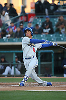 Ariel Sandoval (16) of the Rancho Cucamonga Quakes bats against the Lancaster JetHawks at The Hanger on April 20, 2017 in Lancaster, California. Lancaster defeated Rancho Cucamonga 4-0. (Larry Goren/Four Seam Images)