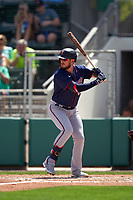 Minnesota Twins JT Riddle (15) bats during a Major League Spring Training game against the Boston Red Sox on March 17, 2021 at JetBlue Park in Fort Myers, Florida.  (Mike Janes/Four Seam Images)