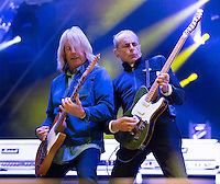Photo by ©Stephen Daniels 2014<br /> Status Quo Rick Parfitt, Francis Rossi on Stage Holkham Hall, Norfolk
