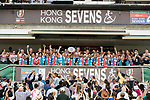 Argentina Team celebrates winning the Plate Prize at the prize Presentation as part of the HSBC Hong Kong Rugby Sevens 2018 on 08 April 2018, in Hong Kong, Hong Kong. Photo by Yu Chun Christopher Wong / Power Sport Images
