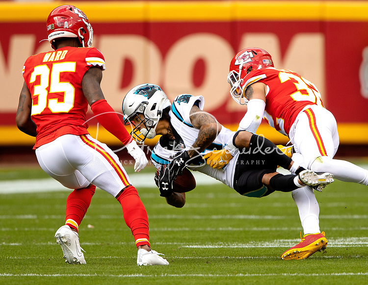 Photography of the Carolina Panthers v. The Kansas City Chiefs, during the Sunday afternoon NFL game at Arrowhead Stadium in Kansas City, MO.<br /> <br /> Charlotte Photographer - PatrickSchneiderPhoto.com