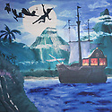 Backdrop featuring Peter Pan, tall sailing ship, Tinkerbell and friends flying at night with volcano mountain