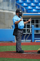 Home plate umpire Brett Stowe indicates a 2-2 count during the Atlantic Coast Prospect Showcase hosted by Perfect Game at Truist Point on August 23, 2020 in High Point, NC. (Brian Westerholt/Four Seam Images)