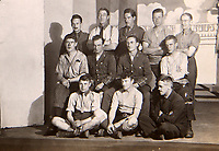BNPS.co.uk (01202 558833)<br /> Pic: Elstob & Elstob/BNPS<br /> <br /> Pictured: A group of British prisoners of war, on stage in a German camp.<br /> <br /> Amazing photos of British PoWs doing amateur dramatics dressed as women in a German camp have emerged 103 years on.<br /> <br /> One officer goes all out in a flapper dress, while others don frocks and make-up in the jovial previously unseen images.<br /> <br /> They took their performances so seriously that they spent up to six hours a day rehearsing.<br /> <br /> The photos were taken by Second Lieutenant Clarence Pickyard, of the 22nd Durham Light Infantry, who was captured in June 1918 during the German Spring Offensive after being shot in the hip on the battlefield.<br /> <br /> He was detained for the remainder of the conflict at Schweidnitz PoW camp in Eastern Germany, writing regularly to his sweetheart Gwen Johnson. His camp photos and love letters are being sold alongside his campaign medals with auctioneers Elstob & Elstob, of Ripon, North Yorks.