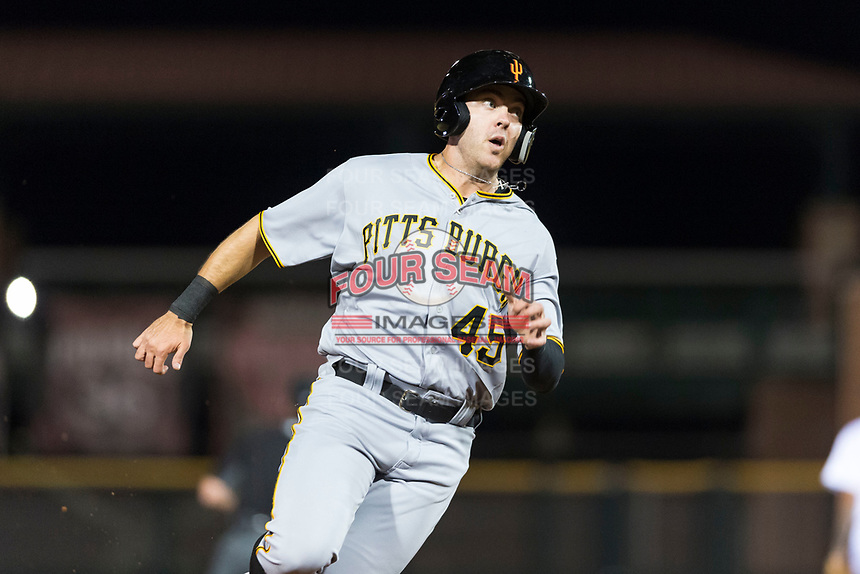 Surprise Saguaros first baseman Will Craig (45), of the Pittsburgh Pirates organization, rounds third base during an Arizona Fall League game against the Scottsdale Scorpions at Scottsdale Stadium on October 15, 2018 in Scottsdale, Arizona. Surprise defeated Scottsdale 2-0. (Zachary Lucy/Four Seam Images)