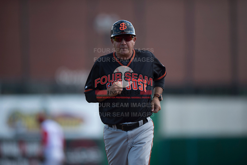 San Jose Giants fundamentals coach Gary Davenport (12) during a California League game against the Stockton Ports on April 9, 2019 in Stockton, California. San Jose defeated Stockton 4-3. (Zachary Lucy/Four Seam Images)