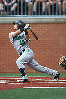 Leo Valenti (13) of the Marshall Thundering Herd follows through on his swing against the Charlotte 49ers at Hayes Stadium on April 23, 2016 in Charlotte, North Carolina. The Thundering Herd defeated the 49ers 10-5.  (Brian Westerholt/Four Seam Images)