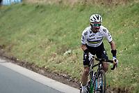 World Champion Julian Alaphilippe (FRA/Deceuninck - QuickStep) attacking up the Berendries<br /> <br /> 76th Omloop Het Nieuwsblad 2021<br /> ME(1.UWT)<br /> 1 day race from Ghent to Ninove (BEL): 200km<br /> <br /> ©kramon