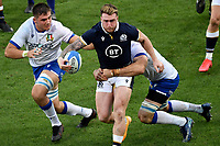 Jake Polledri of Italy , Stuart Hogg of Scotland and Braam Steyn of Italy during the rugby Autumn Nations Cup's match between Italy and Scotland at Stadio Artemio Franchi on November 14, 2020 in Florence, Italy. Photo Andrea Staccioli / Insidefoto