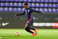 WIENER NEUSTADT, AUSTRIA - NOVEMBER 16: Yunus Musah #18 of the United States moves with the ball during a game between Panama and USMNT at Stadion Wiener Neustadt on November 16, 2020 in Wiener Neustadt, Austria.