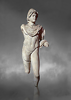 Roman statue of Dioscur. Marble. Perge. 2nd century AD. Antalya Archaeology Museum; Turkey.  Against a grey background<br /> <br /> The statue is one of the twin brothers that together are called the Dioscuri which means sons of the God Zeus. Their names are Castor and Pollux.