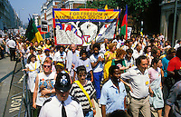 A protest rally in London against the apartheid regime in South Africa. A banner calls for freedom for Namibia and South Africa.