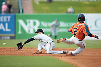 Delmarva Shorebirds shortstop Cadyn Grenier (3) reaches for a throw as Sam Castro (2) of the Greensboro Grasshoppers steals second base at First National Bank Field on August 26, 2018 in Greensboro, North Carolina. The Shorebirds defeated the Grasshoppers 6-4. (Brian Westerholt/Four Seam Images)