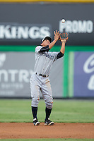 Pulaski Yankees second baseman Gosuke Katoh (28) catches a pop fly during the game against the Burlington Royals at Burlington Athletic Park on August 6, 2015 in Burlington, North Carolina.  The Royals defeated the Yankees 1-0. (Brian Westerholt/Four Seam Images)