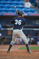 Charlotte Stone Crabs first baseman Nathaniel Lowe (36) at bat during the first game of a doubleheader against the St. Lucie Mets on April 24, 2018 at First Data Field in Port St. Lucie, Florida.  St. Lucie defeated Charlotte 5-3.  (Mike Janes/Four Seam Images)