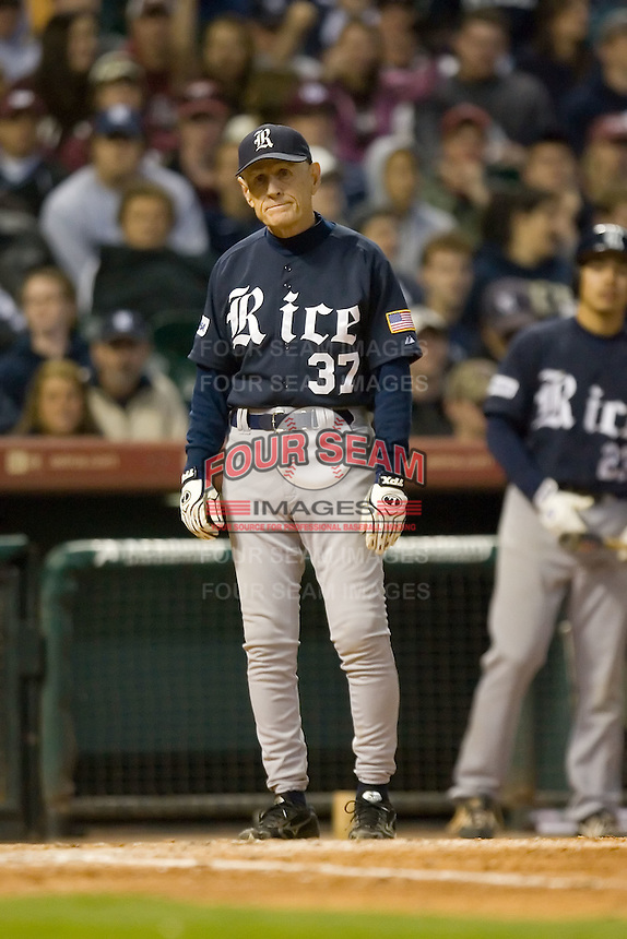 Rice Owls head coach Wayne Graham #37 can't believe the call during a game versus the Texas A&M Aggies in the 2009 Houston College Classic at Minute Maid Park February 28, 2009 in Houston, TX.  The Owls defeated the Aggies 2-0. (Photo by Brian Westerholt / Four Seam Images)