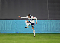 LOS ANGELES, CA - SEPTEMBER 23: Jake Nerwinski #28 of the Vancouver Whitecaps during a game between Vancouver Whitecaps and Los Angeles FC at Banc of California Stadium on September 23, 2020 in Los Angeles, California.