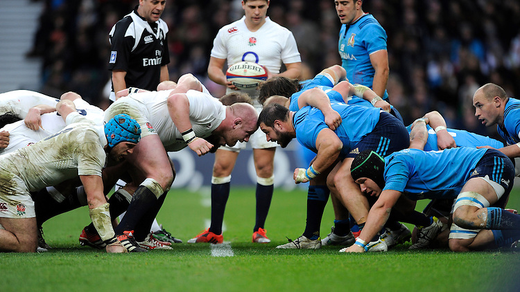 Dan Cole of England and Alberto De Marchi of Italy go head to head during the RBS 6 Nations match between England and Italy at Twickenham Stadium on Saturday 14th February 2015 (Photo by Rob Munro)