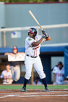 Darien McLemore (5) of the Danville Braves at bat against the Burlington Royals at American Legion Post 325 Field on August 16, 2016 in Danville, Virginia.  The game was suspended due to a power outage with the Royals leading the Braves 4-1.  (Brian Westerholt/Four Seam Images)