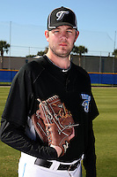 March 1, 2010:  Pitcher Brian Tallet (56) of the Toronto Blue Jays poses for a photo during media day at Englebert Complex in Dunedin, FL.  Photo By Mike Janes/Four Seam Images