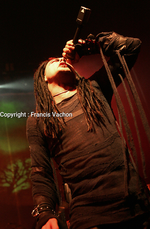Metal band Cradle of Filth lead singer Dani Filth performs during a  show at Le Capitole de Quebec January 27, 2007.