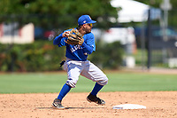 Toronto Blue Jays second baseman Adrian Montero (14) throws to first base during an Extended Spring Training game against the Philadelphia Phillies on June 12, 2021 at the Carpenter Complex in Clearwater, Florida. (Mike Janes/Four Seam Images)