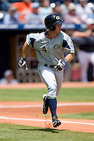 Jeff Rowland #4 of the Georgia Tech Yellow Jackets hustles down the first base line versus the Boston College Eagles at Durham Bulls Athletic Park May 21, 2009 in Durham, North Carolina.  (Photo by Brian Westerholt / Four Seam Images)